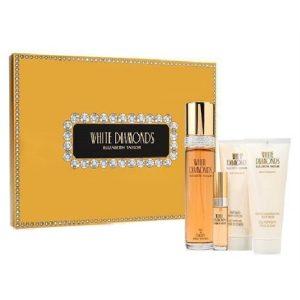 White Diamonds by Elizabeth Taylor 4pc Gift Set EDT 3.3 oz + Body Wash 3.3 oz + Body Lotion 3.3 oz + Mini for Women