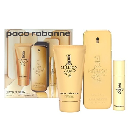 1 Million by Paco Rabanne 3pc Gift Set EDT 3.4 oz + Shower Gel 2.5 oz + Mini 0.34 oz for Men