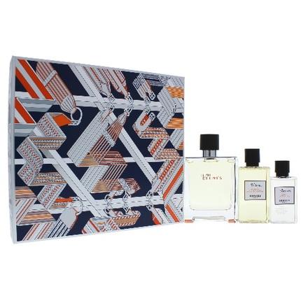 Terre D'Hermes by Hermes 3pc Gift Set EDT 3.3 oz + Hair Body Shower Gel 2.7 oz + After Shave Lotion 1.35 oz For Men