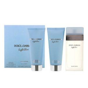 Light Blue by Dolce & Gabbana 3pc Gift Set 3.3 oz EDT+ Body Cream + Shower Gel for Women