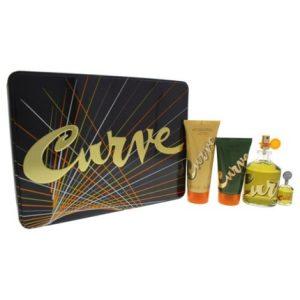 Curve by Liz Claiborne 4pc Gift Set EDC 4.2 oz + Aftershave Balm 3.4 oz + SG 2.5 oz + Mini 0.25 oz for Men
