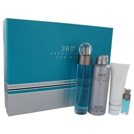 360 by Perry Ellis 4pc Gift Set EDT 3.4 oz + Deodorant Body Spray 6.8 oz + Shower Gel 3.0 oz + Mini 0.25 oz for Men