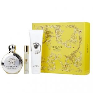 Versace Eros Pour Femme by Versace 3pc Gift Set EDP 3.4 oz + Luxury Body Lotion 5 oz + Rollerball